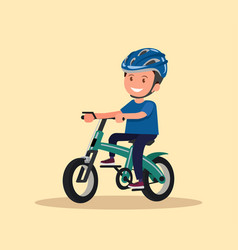 cheerful boy rides a bicycle vector image
