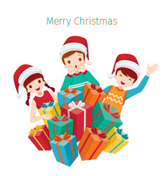 children happy with pile of gifts boxes vector image