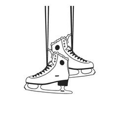 christmas card with racing skates hand drawn fash vector image