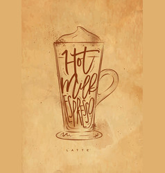 coffee latte cup craft vector image