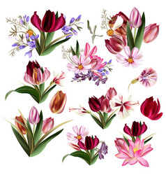 Collection of realistic pastel flowers vector