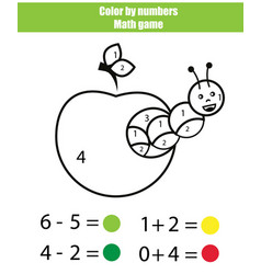 Color by numbers mathematics game coloring page vector