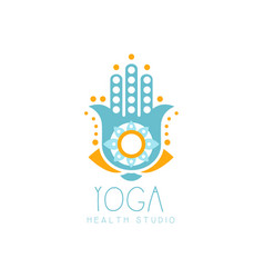 Colorful creative yoga hamsa logo vector