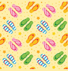 Colorful flip flops on sandy beach pattern vector
