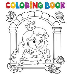 Coloring book princess in window theme 1 vector