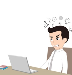 Confused businessman in front of laptop vector