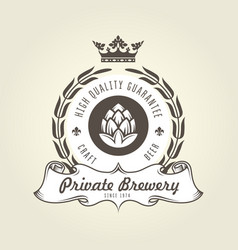 Craft beer logo with hop - vintage emblem vector