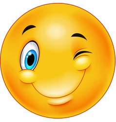 cute smiling and winking emoticon vector image