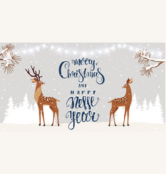 deer christmas vector image
