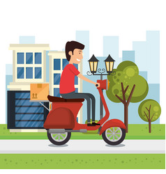 Delivery worker with motorcycle character vector