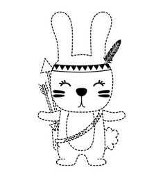 Dotted shape cute rabbit animal with feathers and vector