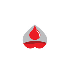 filling up heart with a drop blood logo vector image