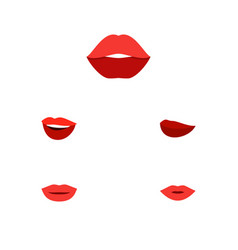 Flat icon lips set of mouth laugh lipstick and vector