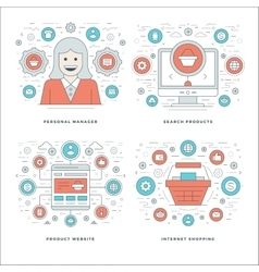 Flat line Manager Search Products Shopping vector image