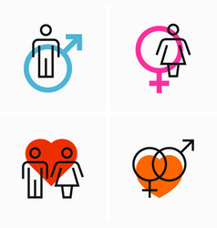 gender love relationship flat and outline icon vector image