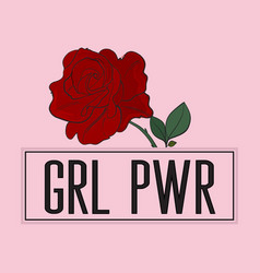 Girl power slogan with rose print on pink vector