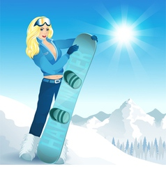 Girl with a snowboard vector image