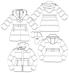 Girls winter coat and jacket vector image
