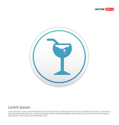 glass of juice icon - white circle button vector image