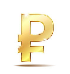 Golden symbol russian ruble vector