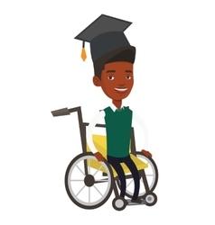 Graduate sitting in wheelchair vector image