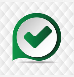 green check mark icon geometric background vector image