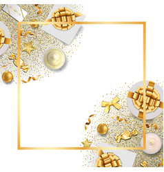 Greeting card frame with festive items and glitter vector