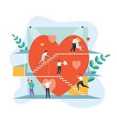 group people around heart vector image