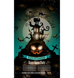 Halloween Party Flyer with creepy colorful vector image
