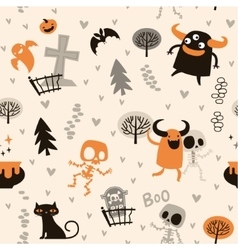 Halloween theme pattern skeletons and monsters vector