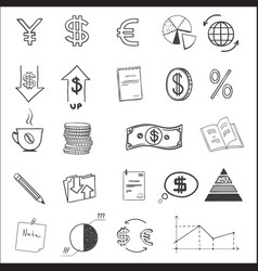 hand draw business finance doodle sketch money vector image