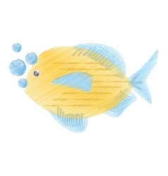 hand drawing blue and yellow fish variety ocean vector image