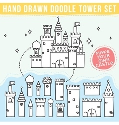 Hand drawn doodle tower set vector image