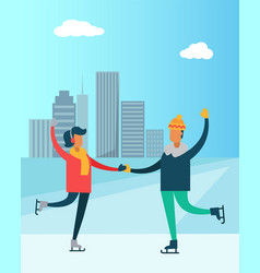 happy couple dancing on skates man and woman city vector image