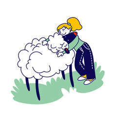 Happy girl character hugging cute sheep in farm vector