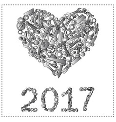 happy new year greeting design from hand tools vector image