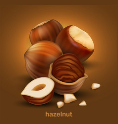 hazelnuts on a brown background 3d high vector image