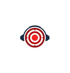 Headphone target logo icon design vector