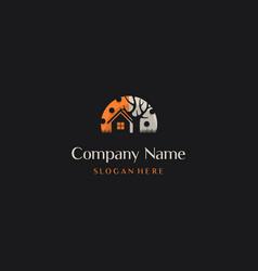 Home scary halloween creative logo design vector