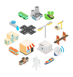 infrastructure icons set vector image