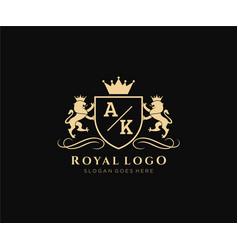 Initial ak letter lion royal luxury heraldiccrest vector