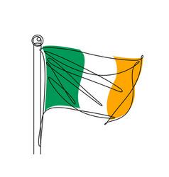 Irish flag continuous line vector