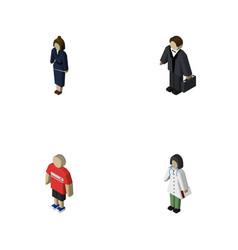 isometric person set of doctor guy investor and vector image