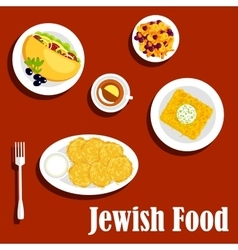 Jewish cuisine vegetarian dishes and pastry vector