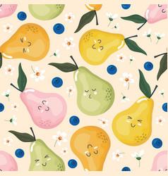 kawaii pears seamless pattern for kids cute fruit vector image