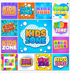 Kids zone children game playground banners and vector