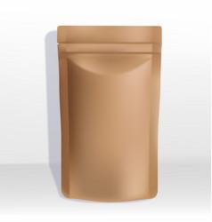 Kraft paper zipper pouch or sachet vector