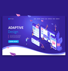 Landing page isometric concept business analysis vector