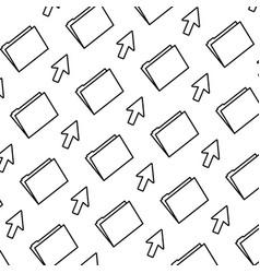 line folder file with arrow cursor background vector image