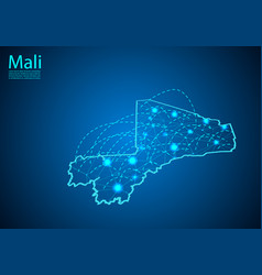 Mali map with nodes linked by lines concept of vector